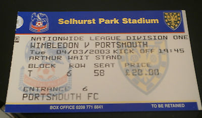Wimbledon v Portsmouth 4th March 2003 League Match Ticket