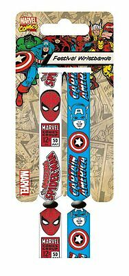 Marvel Spider-man & Captain America Pack Of 2 Fabric Festival Wristbands PYRAMID