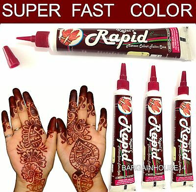 3 Super Fast Maroon Color Natural Henna Mehandi Tattoo Paste Tubes - 100% Halal