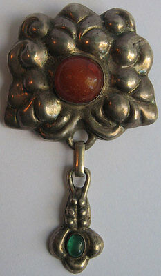 Vintage Signed Danish 830 Silver Carnelian Chrysoprase Arts & Crafts Dangle Pin*