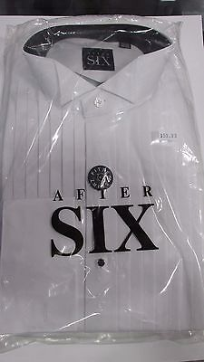 New After Six 100% Cotton Fitted White Wing Tip French Cuff Tuxedo Shirt