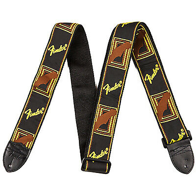"New Fender Monogrammed 2"" Wide Guitar Strap, Black/Yellow/Brown, 0990681000"