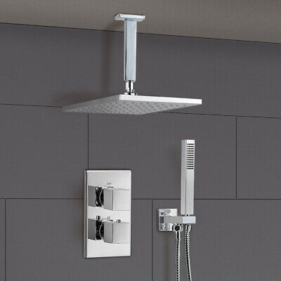Temel Bathroom Concealed Square Thermostatic Shower Mixer Valve Tap Chrome