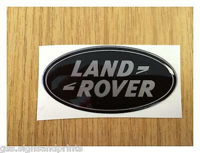 QTY X3 54x27MM SILVER LAND ROVER - DOMED STICKER
