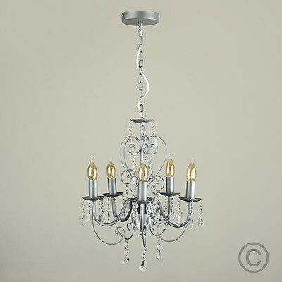 Satin Silver Vintage Style 5 Way Ceiling Light Jewel Chandelier Fitting Lights
