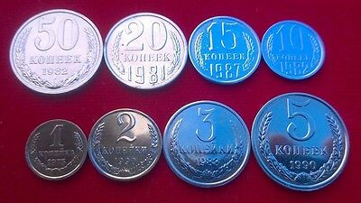 USSR All Soviet 8 coin set Full Kopeks Collection Shine Like a New!