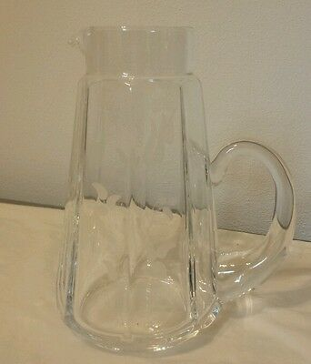 Vintage Clear Glass Water Pitcher Flower Floral Vase With White Frosted Flowers