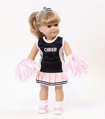 "4 piece Pink & Navy Cheerleading Outfit made for 18"" American Girl Doll Clothes"