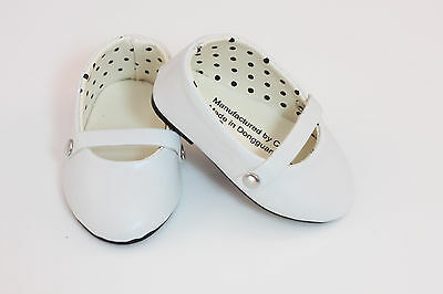 """White Mary Janes T-Strap Shoes made for 18"""" American Girl Doll Clothes"""