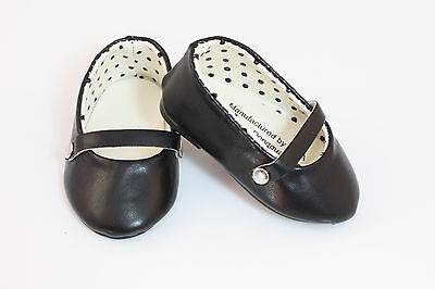 """Black Mary Janes T-Strap Shoes made for 18"""" American Girl Doll Clothes"""