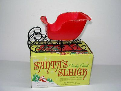 Vintage Santa's Sleigh Candy Container In The Original Box