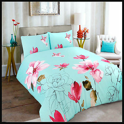 DUVET COVER WITH PILLOW CASE QUILT BEDDING STELLA DUCK EGG S-D-K Size