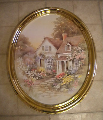 1985, Homco / Syroco Large Oval Cottage & Flowers Gold Framed Picture