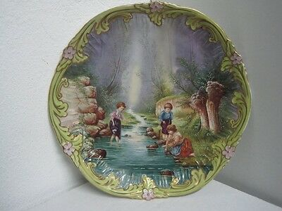 ANTIQUE LIMOGES CABINET PLATE,CHARGER HAND PAINTED VICTORIAN CHILDREN IN RIVER