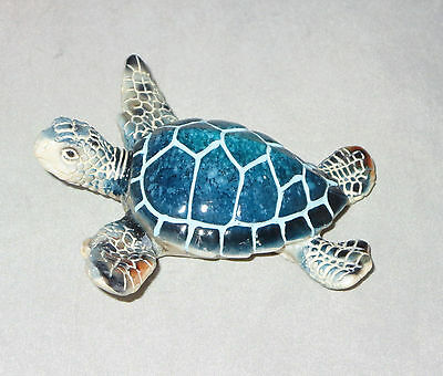 "Sea Turtle Figurine Blue Water Animals 3.5"" Wide Poly Resin New"