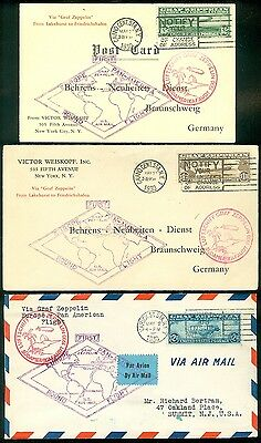 USA : 1930 Scott #C13-15 on Flown South America, 2 Zeppelin covers & 1 Post card