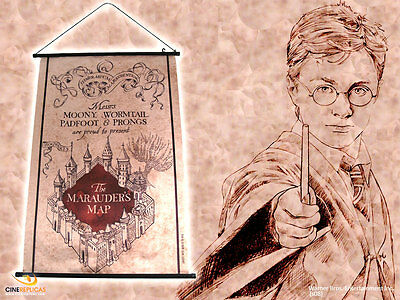 Harry Potter Wall Scroll 60X80 Cm Mappa Del Malandrino Marauder's Map Hogwarts 1