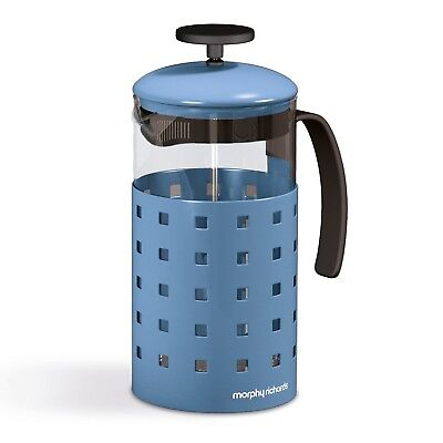 Morphy Richards Accents Coffee Maker 8 Cup Stainless Steel Glass Cafetieres Blue