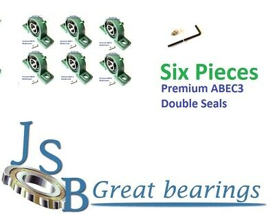 Qt.4 Premium UCP201-8 double seals ABEC3 Pillow block bearings 1//2 bore UCP201