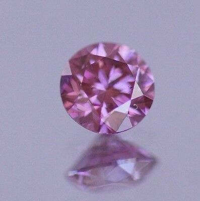 Fancy Color Pink Purple Natural Diamond 0.37 Carat Certified Hthp Real Image