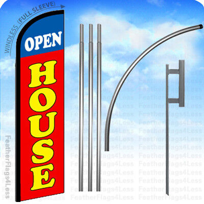 WINDLESS Swooper Feather Banner Sign Flag 15' KIT - OPEN HOUSE rf