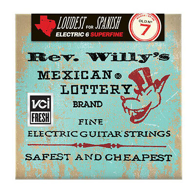6 sets Dunlop Rev Willy's Mexican Lottery Brand Super Fine Guitar Strings