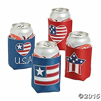 Patriotic Can Coolie Covers Red White Blue (Lot Of 24) Party's Event Decor