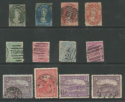 Tasmania Selection Of 12 Including 2 Early Imperfs,see Scans