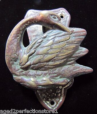 Antique Figural Swan Interior Door Knocker brass bronze architectural ornate