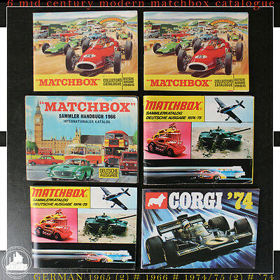 Six Vintage Mid Century Modern Matchbox Collector Catalogues Cars Planes Etc.