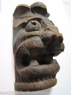 Antique Carved Wood Figural Demon Head Architectural Salvage nicely detailed old