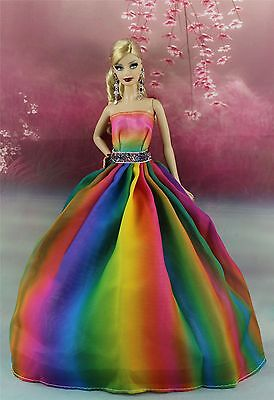 Rainbow Color Fashion Princess Party Dress/Clothes/Gown For 11.5in.Doll K01