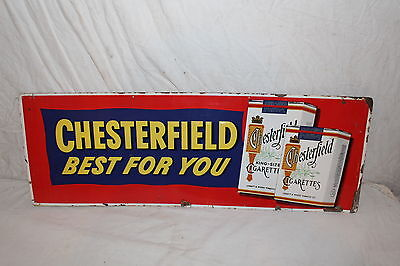 """Vintage 1950's Chesterfield Cigarettes Tobacco 34"""" Embossed Metal Sign"""