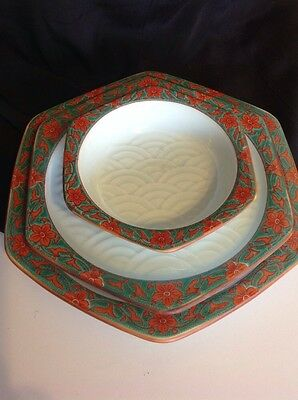 ASIAN VINTAGE pottery three pc set -  Eclectic Collection