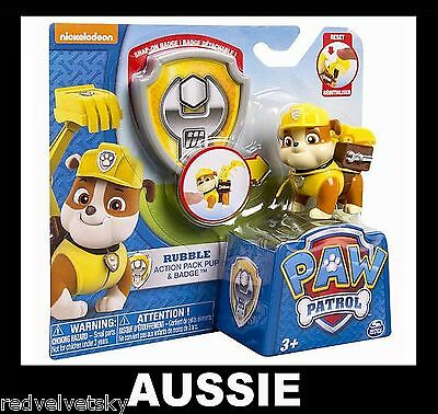 PAW PATROL Action Pack Pup & Badge ~ RUBBLE ~ NEW