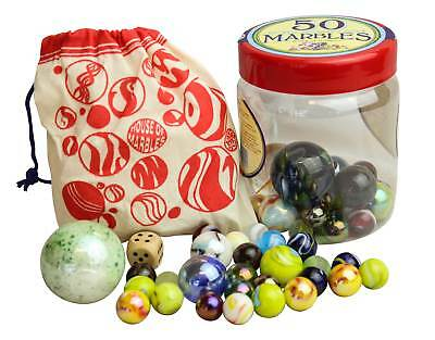 Traditional Tub of 50 Assorted Marbles Retro Collectors' Game House of Marbles