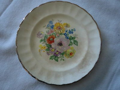 """Sebring Pottery DuBarry Imperial Ware Bread & Butter Plate 18 K Gold Floral 6"""""""
