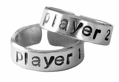 Player 1 and Player 2 Video Game Ring Set   BFF Best Friends   Adjustable