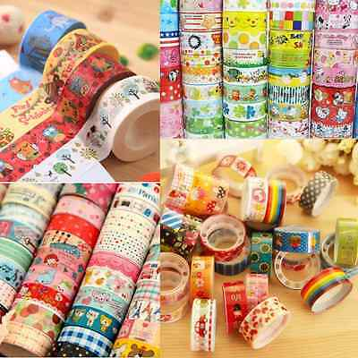 10pcs Washi Paper Scrapbooking Decorative Sticker Masking Adhesive Tape Roll