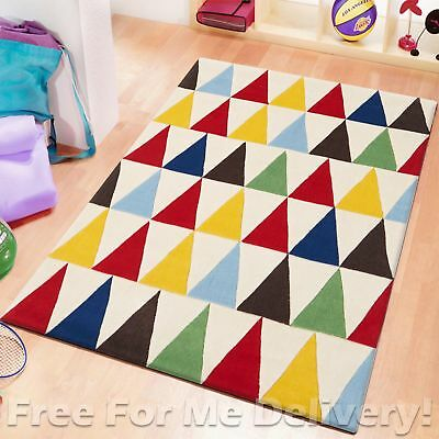 ABC KIDS COLOURFUL TRIANGLES DESIGN THICK FLOOR RUG (S) 115x165cm *FREE DELIVERY