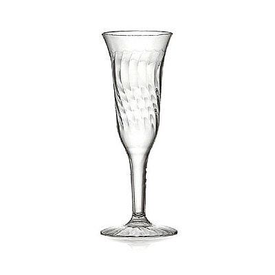 5 oz. Clear Plastic Champagne Flute - 1 Piece 96 / CS   FAST Shipping !!!