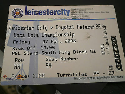 Leicester City v Crystal Palace 7th April 2006 League Match Ticket Folded