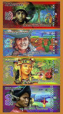 SET Equatorial Territories, 5;10;20;50 E. Francs, 2014-2015 POLYMER, UNC