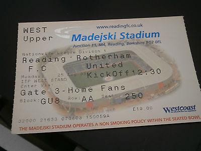 Reading v Rotherham United 25th Aug 2003 League Match Ticket