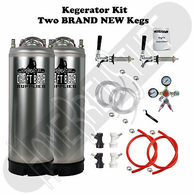 2 Ball Lock Kegs Homebrew Draft Beer Taps Kegerator Conversion Kit & Y-Regulator