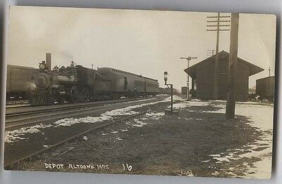 1912 Altoona Wisconsin Railroad Depot #74 Steam Engine Real Photo Postcard RPPC
