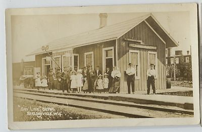 1914 Stetsonville Wisconsin Soo Line Railroad Depot Real Photo Postcard RPPC