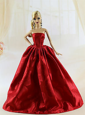 Red Fashion Royalty Princess Silk Dress/Clothes/Gown For Barbie Doll K05U