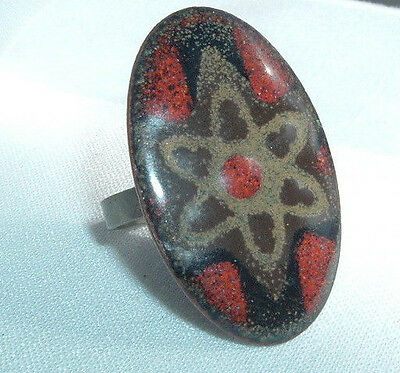 Vintage Chunky Brown Red Enamel Flower Metal Ring Sz 7.5 Adjustable In Gift Box