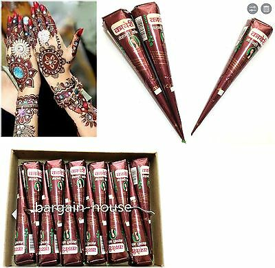 12 x  (33g)  Darkest Maroon HENNA Temporary Tattoo CONES -  100% NATURAL